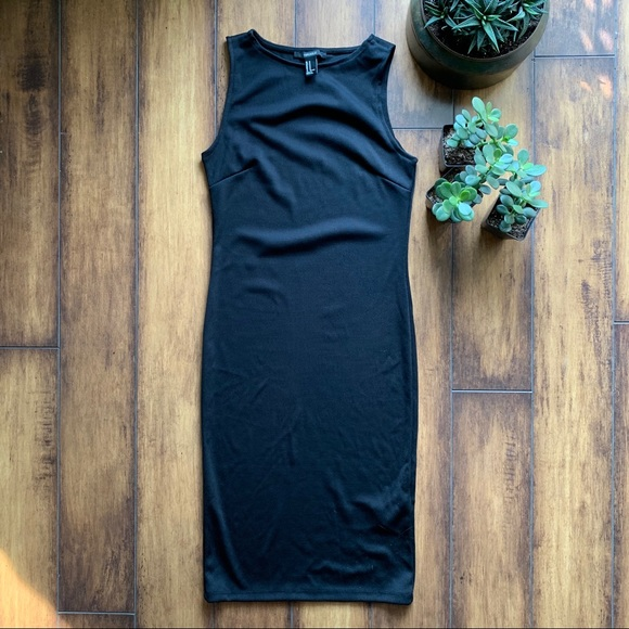 Black Mid-Length Fitted Dress